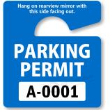 ファッション書き込み可能な青いハングタグ駐車許可証販売