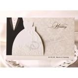 卸売豪華な手作りの装飾レーザー挨拶結婚式招待状