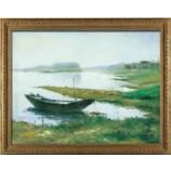 S600 80x60cmの湖風景の油絵の壁画アートのボート