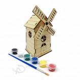 아이 풍차 모양 퍼즐 나무 손 크랭크 음악 상자 도매