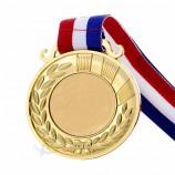 사용자 정의 스포츠 골드 실버 브론즈 상 메달 리본을 실행합니다