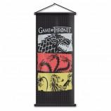 ゲームオブスローンズ壁掛けスクロールバナー家の装飾家スタークターガリエンフラグマーテルラニスターポスターバナー17.7x43.3インチ