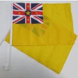 플라스틱 극을 가진 뜨개질을 한 폴리 에스테 niue 차 깃발