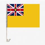 플라스틱 극을 가진 차 창 niue 깃발을 판매하는 공장