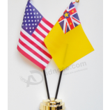 wholesale polyester Niue desk top flag with metal stand