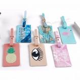 мультфильм животное фламинго багаж бирка дорожные аксессуары PU кожаный чемодан ID держатель адреса