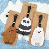 귀여운 만화 곰 곰 수하물 태그 실리카 젤 가방 ID 주소 홀더 라벨
