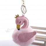 ピンクのフラミンゴポンポンキーホルダーアクセサリー