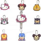 만화 동물 또는 캐릭터 도매 용 실리콘 열쇠 고리 및 열쇠 고리