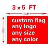 주문 깃발 3x5ft 폴리 에스테 모든 로고 어떤 색깔 기치 팬 스포츠 주문 깃발