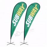 カスタム広告長方形ナイフティアドロップビーチ羽旗印刷バナービーチ旗
