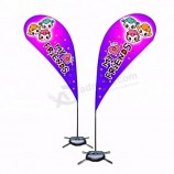 POS system advertising outdoor flying flag tear drop banner with pole stands