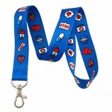 프로모션 선물 간호사 또는 의사 의료 인쇄 로프 목 나일론 끈 키 체인 ID 배지 홀더 키