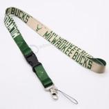 bucks wholesale silk screen polyester beaded lanyards Id badge holder