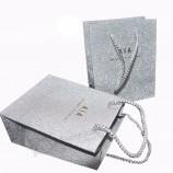 カスタマイズされたキラキラ紙バッグ銀色のギフトバッグ