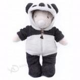 かわいい&居心地の良い新しいデザインのパンダの服を着たクマのぬいぐるみは、動物のぬいぐるみをカスタマイズしました