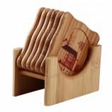 6ピース/セット天然竹ドリンクセットスクエアクリエイティブランチョンマットカップマットパッドコーヒーカップ家の装飾ソーサー断熱