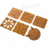 hometree天然竹木材コースター手作りコーヒー断熱マットキッチンアクセサリーボウルポットホットドリンクマットH62