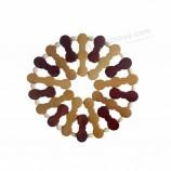 17 * 17 Cm 라운드 대나무 중공 코스터 플레이스 매트 순수 천연 광장 대나무 주방 절연 패드 그릇 매트