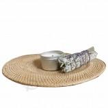 卸売ベトナム自然ラウンド形状編組竹籐ランチョンマット用耐熱ダイニングテーブル