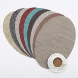 ziran 대나무 타원형 내열 테이블 매트 얼룩 방지 미끄럼 방지 빨 PVC 플레이스 매트 짠 비닐 플레이스 매트 내구성