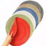 ランチョンマット簡単拭き取りクリーンキッチンディナーテーブルマット洗える織ビニールプレースマット、ヨーロッパの竹ノット織り洗えるテー