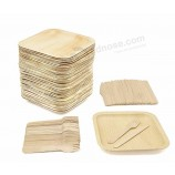 Экологичная посуда, одноразовые квадратные тарелки из пальмовых листьев, деревянные вилки и ножи