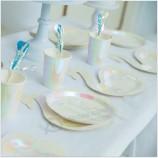 5色ポップコーンボックスラウンドディナープレートシルバーゴールドペーパープレート使い捨て食器/竹繊維子供用プレート/ケーキプレート