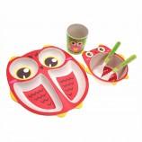 5ピース子供フードボウル竹繊維子供スナックボウルフクロウ形の皿非毒性漫画食器幼児用食器