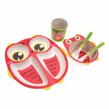 5 개 어린이 식품 그릇 대나무 섬유 아이 스낵 그릇 올빼미 모양의 요리 비 독성 만화 식기 식탁 유아