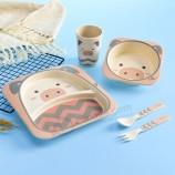 子供のための環境に優しい再利用可能な竹の食器生分解性の子供竹繊維食器セット