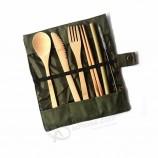 ポータブル自然竹食器セット布でキャンプ用バッグ赤ちゃん布バッグ食器セットスプーン/フォーク/ナイフ/箸キット