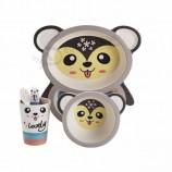 カップスプーンフォークとボウル竹繊維赤ちゃん食器セットで食器セットを給餌する子供