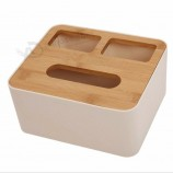 bamboo wood creative tissue Box white plastic Box simple design for dining room kitchen bedroom dressing table and home