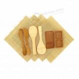 대나무 디럭스 스시 제작 키트 2x 자연 롤링 매트 2 개, 패들, 스프레더, 칸막이 소스 접시
