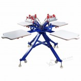 4 색 4 역 수동 실크 스크린 인쇄 기계 접는 다리 디자인 DIY 티셔츠 천 인쇄 장비