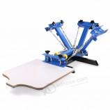 4 цвет 1 станция слик трафаретная печатная машина для футболки DIY пресс шелкография съемный поддон