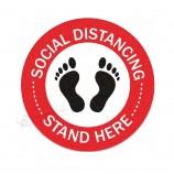 OEM / ODM держать знак безопасности социальное расстояние дистанцируя наклейки на пол