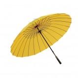 24ボーンレザーハンドルゴルフ傘カスタムロゴ風を増やす-耐性のある純色ゴルフ商業広告傘