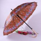 도매 경제적 인 광고 꽃은 싼 긴 손잡이 우산을 인쇄했습니다