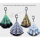 사용자 정의 로고 광고 우산 핸즈프리 우산 더블 레이어 역 우산