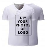 カスタム100%コットンTシャツは、高品質のデザインロゴテキストDIYプリントオリジナルデザインTシャツを作成します