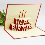 사용자 정의 로고 생일 창조적 인 엽서 3D 감사 카드 종이 컷 스테레오 팝업 인사말 카드 봉투