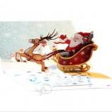 메리 크리스마스 산타 사슴 카드 선물 카드 3D 카드 사용자 정의 크리스마스 선물 기념품 엽서