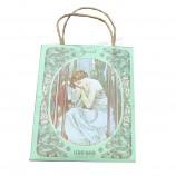 녹색 종이 사용자 지정 선물 포장 가방 핸들