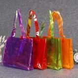 工場卸売プラスチックPVCトートバッグカラートートショッピングバッグレーザー服ギフト包装バッグ印刷