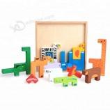 熱い販売は子供のための創造的な動物の木製のビルディングブロックのおもちゃをカスタマイズしました
