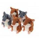 아이들을위한 말하는 햄스터 박제 동물 견면 벨벳 참신 장난감을 반복하십시오