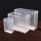 изготовленные на заказ модные ручки прозрачные подарочные пластиковые сумки для рук PP / PVC