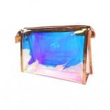 레이저 홀로그램 메이크업 가방 투명 PVC 화장품 가방